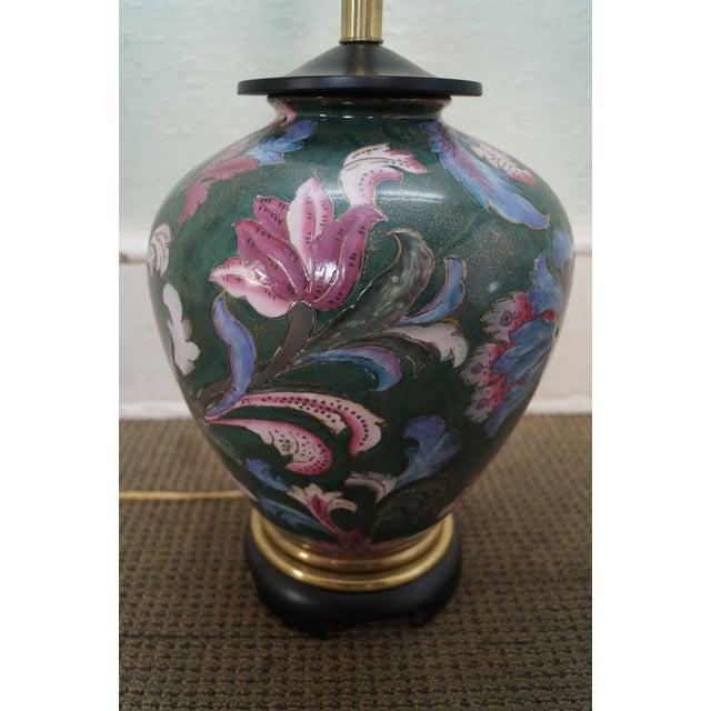 Blue Frederick Cooper Floral Pottery Ginger Jar Urn Table Lamp For Sale - Image 8 of 10