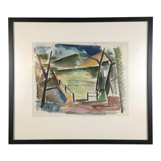 1940s Cubist Landscape by Robert Adams
