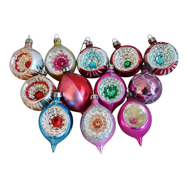 Midcentury Vintage Colorful Christmas Ornaments W/Box - Set of 12 For Sale