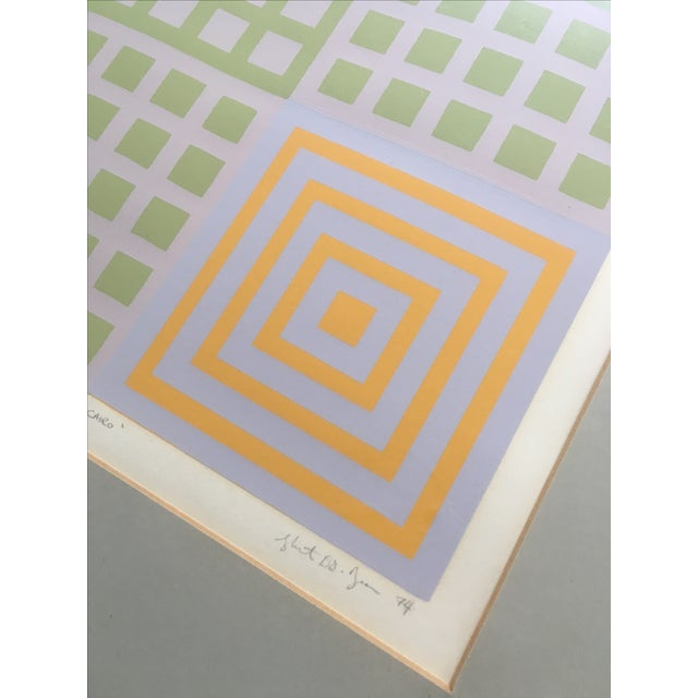 70's Geometric Abstract Silkscreens - A Pair - Image 4 of 8
