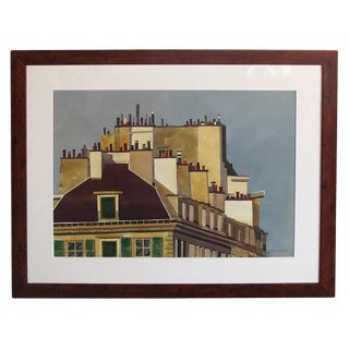Watercolor on Paper 'Rooftops of Paris' by Michael Dunlavey For Sale