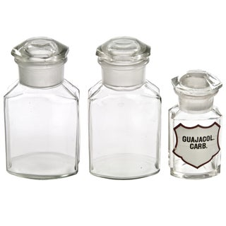 Vintage French Apothecary Bottles - Set of 3