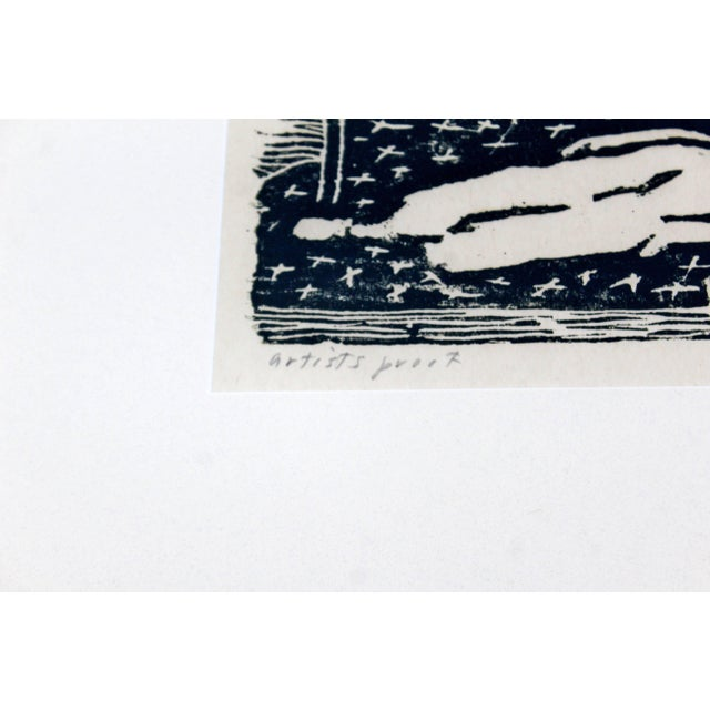 Mid-Century Modern Framed Nude Woodcut Artist Proof Signed Milton Avery, 1950s For Sale In Detroit - Image 6 of 10