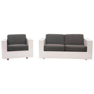 Loveseat and Chair by Milo Baughman for Thayer Coggin, White Laminate Case For Sale