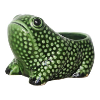 Vintage Portuguese Hobnail Frog Planter in the Style of Jean Roger For Sale