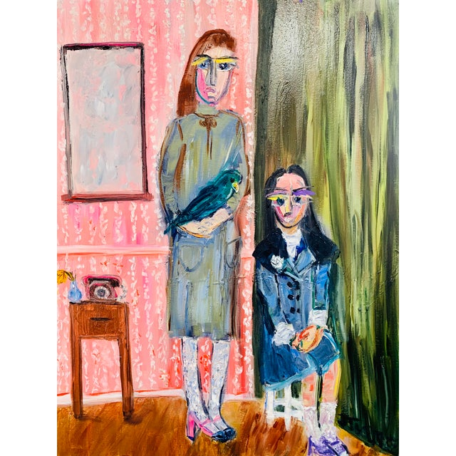 """""""Las Hermanas"""" Contemporary Figurative and Interior Scene Oil Painting by JJ Justice For Sale"""