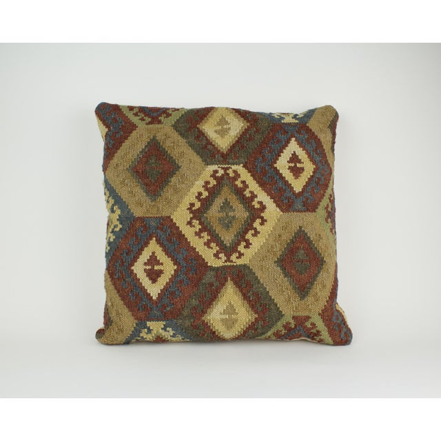 Pottery Barn Brown and Blue Woven Kilim Pillow For Sale - Image 4 of 8