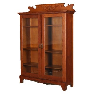 Antique Horner Bros, School Carved Oak Double Glass Door Bookcase, Circa 1910 Preview