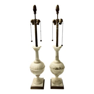 1960s White Marble Marbro Lamps - a Pair For Sale