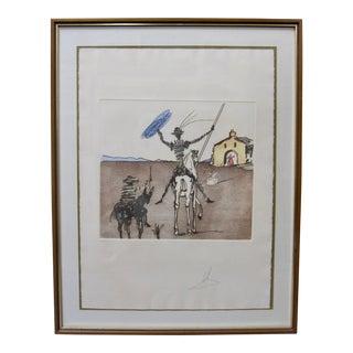 """Salvador Dali Don Quixote Signed Original Etching Aquatint """"The Impossible Dream"""" For Sale"""