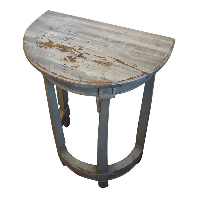 19th Century Petite Shabby Chic Gray Wood Console For Sale