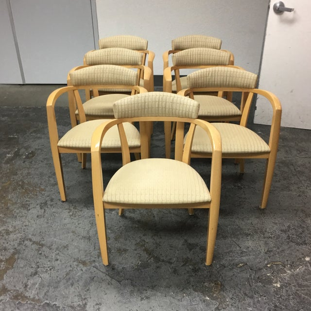 Contemporary Mid-Century Light Maple Lowenstein Dining Chairs - Set of 7 For Sale - Image 3 of 8