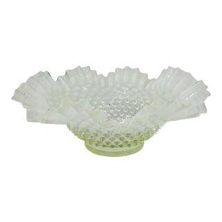 Antique Art Glass Hobnail Double Crimped Edge Dish For Sale