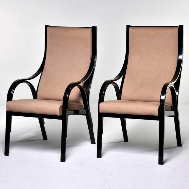 Italian Pair Mid Century Ebonised High Back Italian Armchairs For Sale - Image 3 of 10