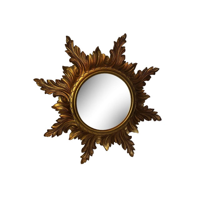 Mid Century Gold Italian Sunburst Mirror For Sale In Dallas - Image 6 of 6