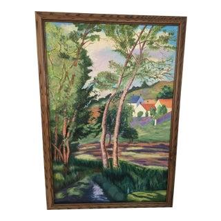 """1990s Vintage """"Passage De La Creuse """" Oil on Canvas by A.Barlow For Sale"""