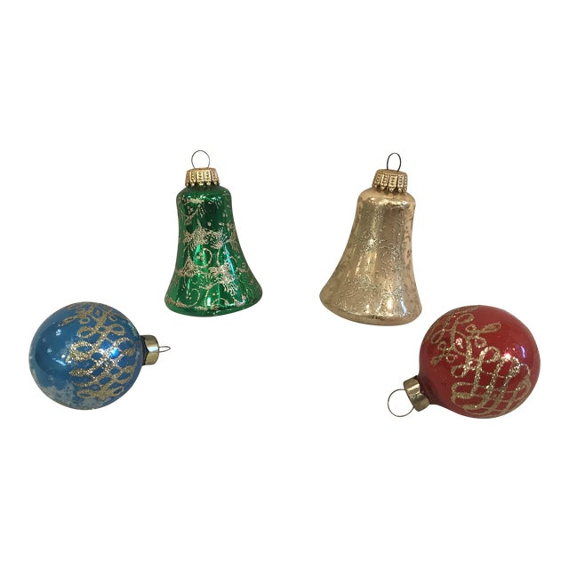 Vintage Glass Ornaments- Set of 4 For Sale