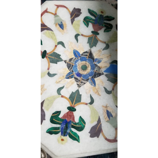 Vintage Hardstone Inlaid Marble Top Octagonal Side Table For Sale - Image 11 of 12