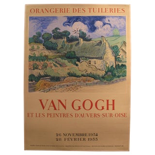 "1954-55 Original French Exhibition Poster - ""Van Gogh Et Les Peintres d'Auvers-Sur-Oise"" - Orangerie Des Tuileries For Sale"