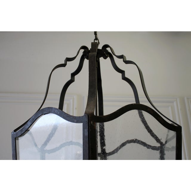 French Custom Made Iron Lantern Chandelier For Sale - Image 3 of 12