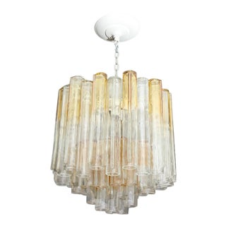 Vintage Amber and Clear Mazzega Chandelier For Sale