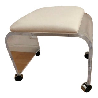 Vintage Lucite Leather Stool Bench For Sale
