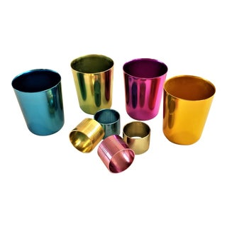 Vintage Mid-Century Anodized Colored Aluminum Tumbers,Napkin Rings Set of 8 For Sale