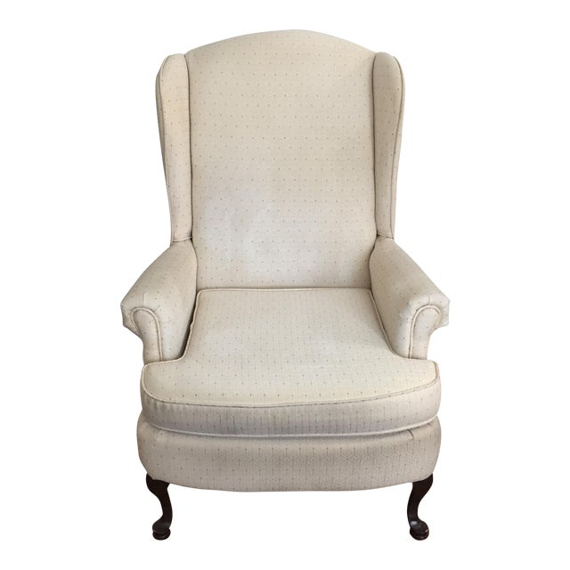Vintage Ivory Wingback Chair - Image 1 of 8