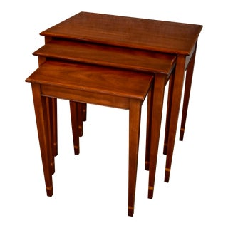 Vintage Henkel-Harrris Set of Three Inlaid Mahogany Stacking Tables For Sale