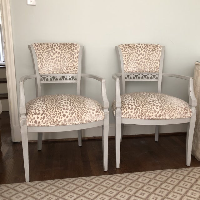 Cowtan & Tout Velvet Leopard Upholstered Gray Arm Side Chairs - a Pair For Sale - Image 4 of 9