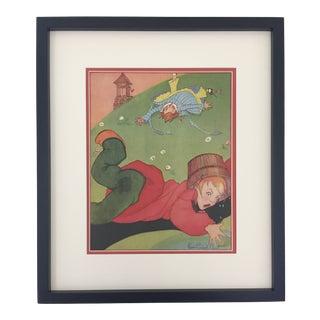 "1930's Framed ""Jack and Jill"" Framed Nursery Rhyme Print by Fern Bisel Peat For Sale"