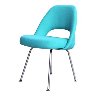 Original 1950s Knoll International Turquoise Reupholstered Executive Side Chair For Sale