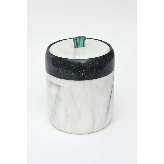 Mid-Century Modern Mid-Century Georges Briard Marble and Bronze Ice Bucket For Sale - Image 3 of 10