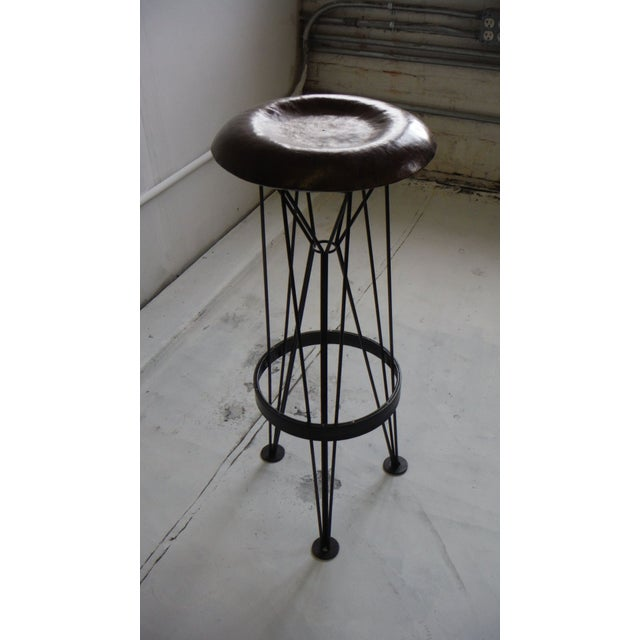 Hammered Steel Bar Stool For Sale - Image 4 of 6