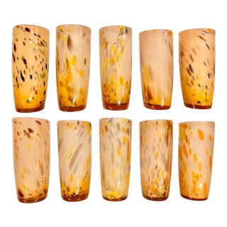 Italian Handblown Art Glass Cocktail / Tea / Water Glasses, Set of 10 For Sale