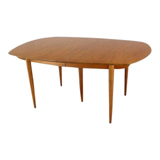 John Stuart Mid Century Modern Walnut Dining Table With Two Leaves For Sale