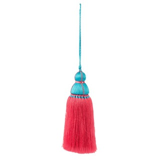Turquoise & Pink Tassel, Large For Sale