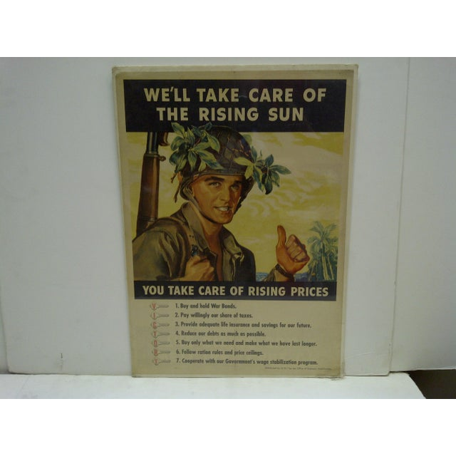 """This is a Vintage -- World War II -- War Bond Poster -- """"We'll Take Care Of The Rising Sun"""" -- """"You Take Care Of Rising..."""