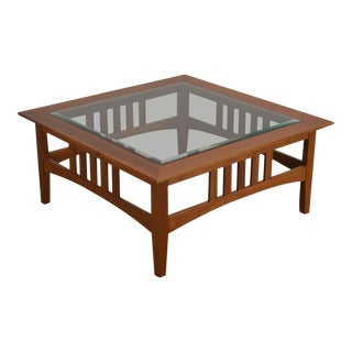 Custom Solid Cherry Square Glass Top American Impressions Style Coffee Table For Sale