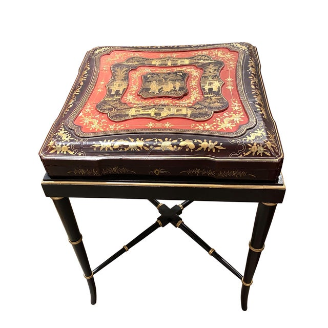 Mid 19th Century 19th Century China Trade Gilt Lacquer Box Table For Sale - Image 5 of 5