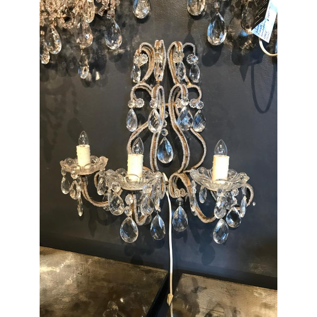 Metal Italian Beaded Gold Leaf Sconce For Sale - Image 7 of 8