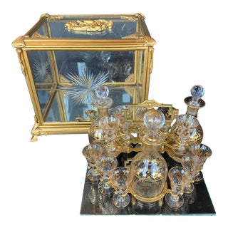 19th Century Bronze and Baccarat Glass Tantalus For Sale