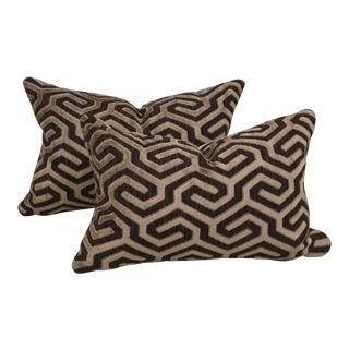 Cowtan & Tout Moka Brown Geometric Velvet Pillows - a Pair For Sale