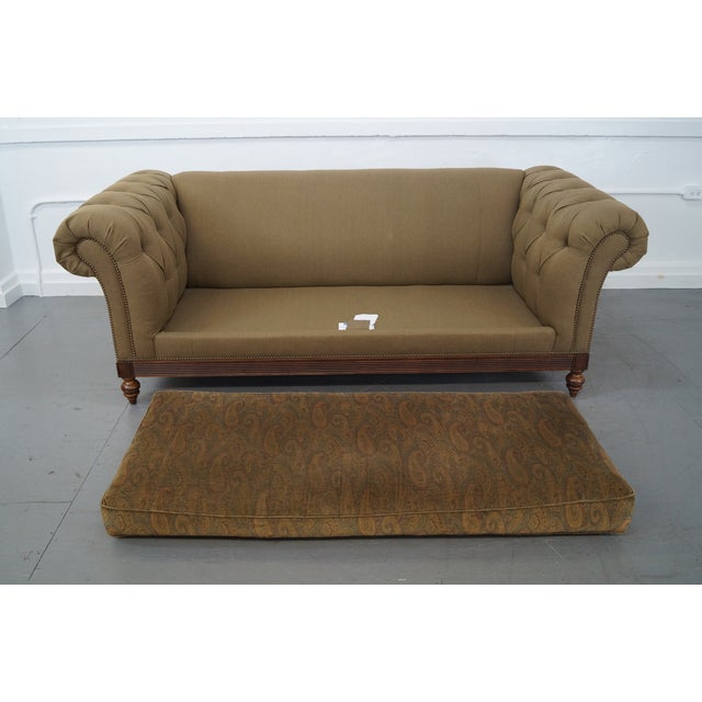 Brown Ethan Allen British Classics Long Tufted Sofa For Sale - Image 8 of 10
