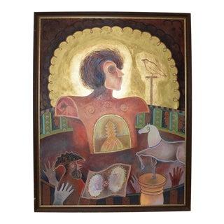 Alvaro Santiago Portrait With Symbolism C.1990 For Sale
