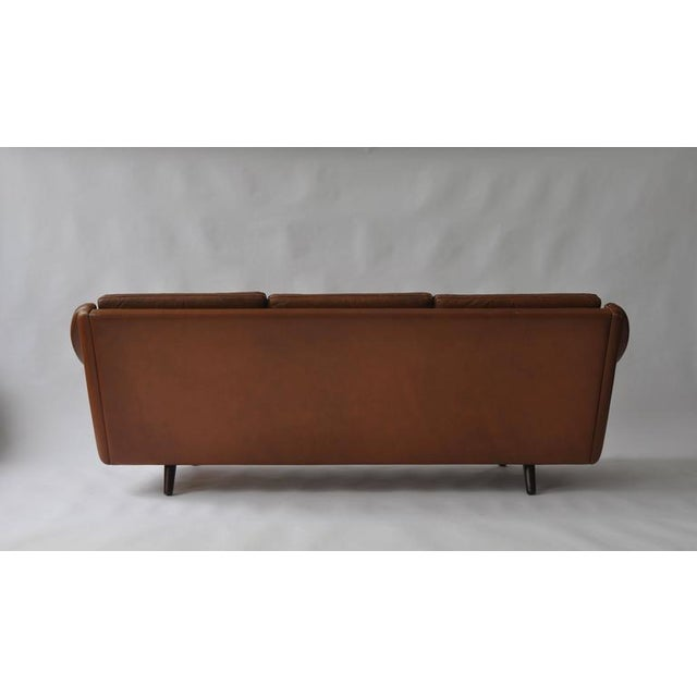 Mid-Century Modern Aage Christiansen Danish Leather Sofa, 1960s For Sale - Image 3 of 9