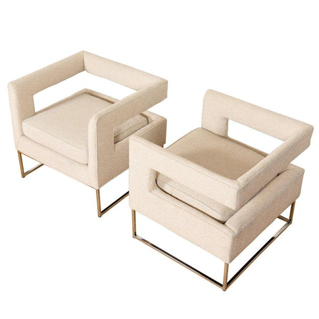 Pair Milo Baughman Open Back Club Chairs For Sale - Image 13 of 13