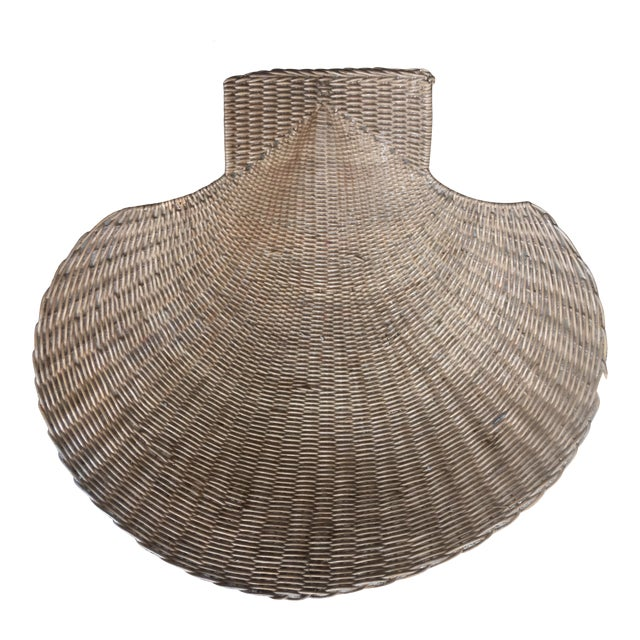 Vintage Wicker Shell Bowl For Sale