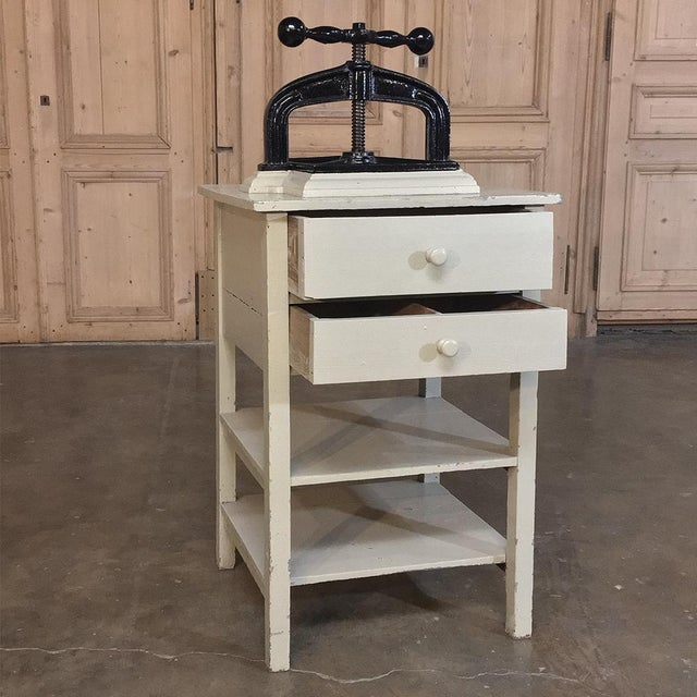Arts & Crafts 19th Century Cast Iron Paper Press on Painted Stand For Sale - Image 3 of 11