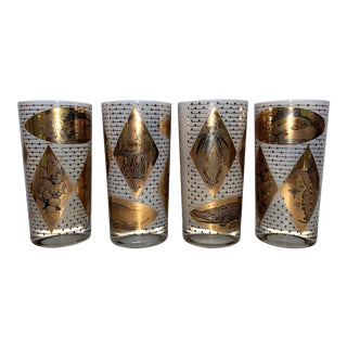 1960s Florida Mid-Century Modern Frosted White/ Gold Leaf Tumblers 1960s - Set of 4 For Sale